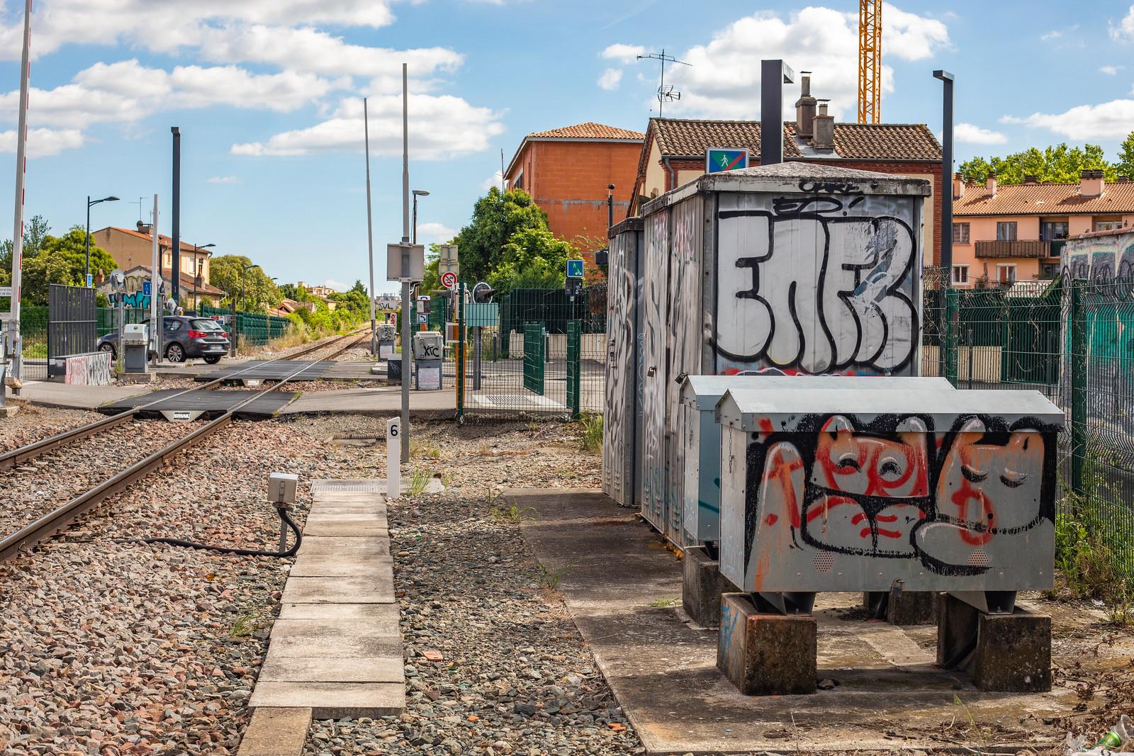 Photographie de graffitis par les artistes Enfer et Elmootmoot sur la voie ferrée à Toulouse en 2019.