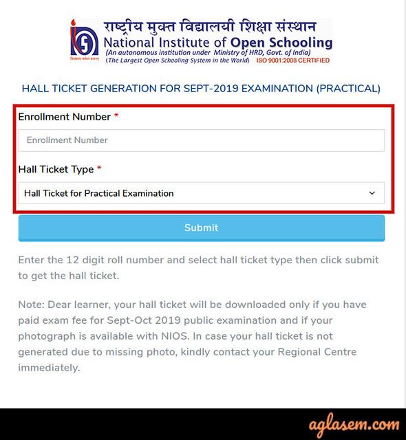 NIOS 12th Hall Ticket October 2019