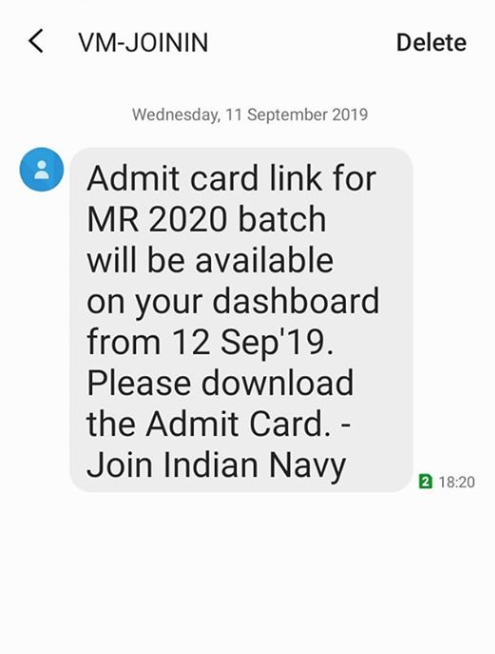 Indian Navy MR Admit Card 2020 for Apr batch (Available