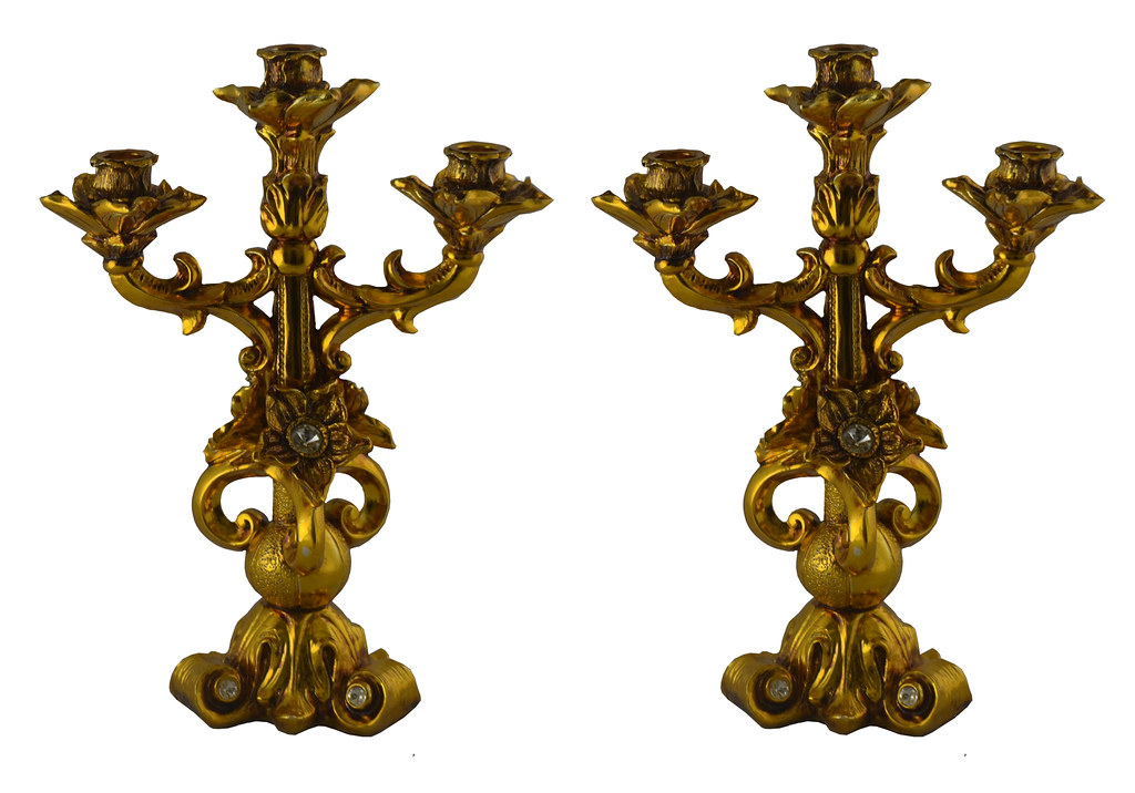 Gold Polyresin Candle Holders, Candelabras Set of Two, Flower Carvings & White Gem Accents