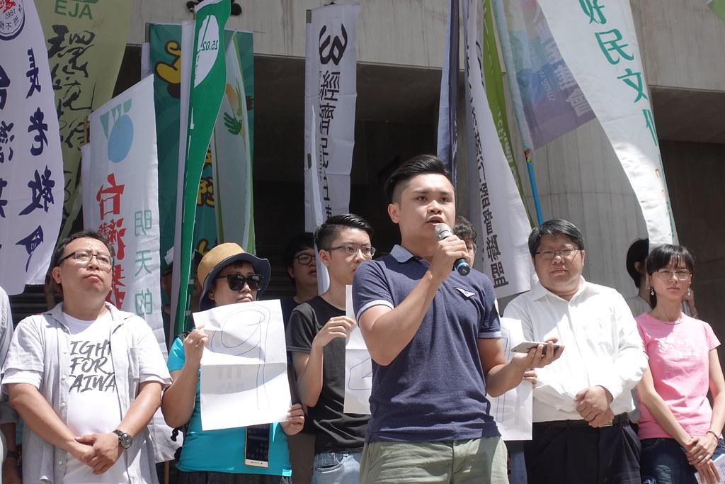 香港邊城青年代表Kuma呼籲台灣人和香港人一起站出來參加929大遊行。(攝影:張智琦)