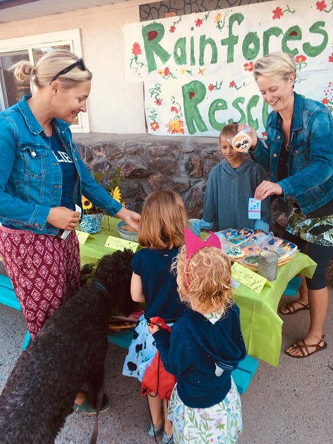 Parents and children at the Salida Montessori Charter School's rainforest bake sale
