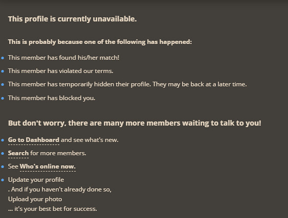 the profile is unavailable